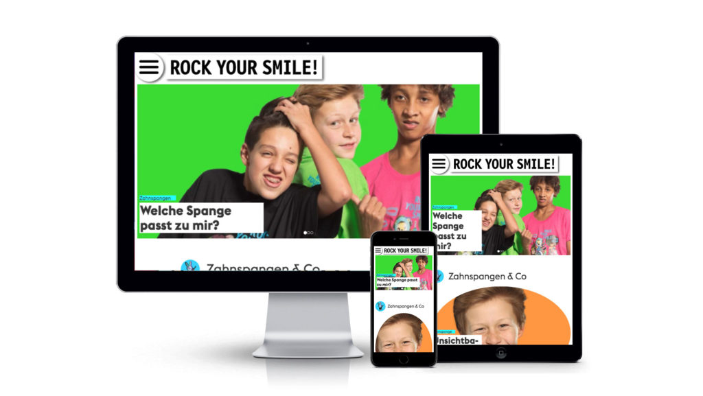 «rockyoursmile.ch», Responsive Website für Desktop, Tablet und Mobile